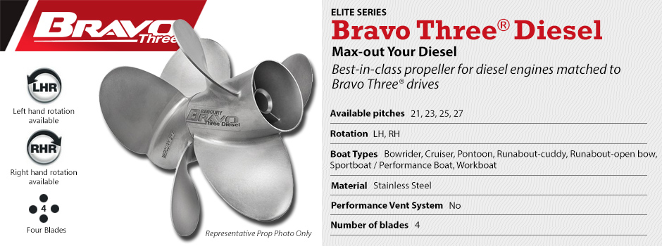 Mercury Bravo Three Diesel Propeller